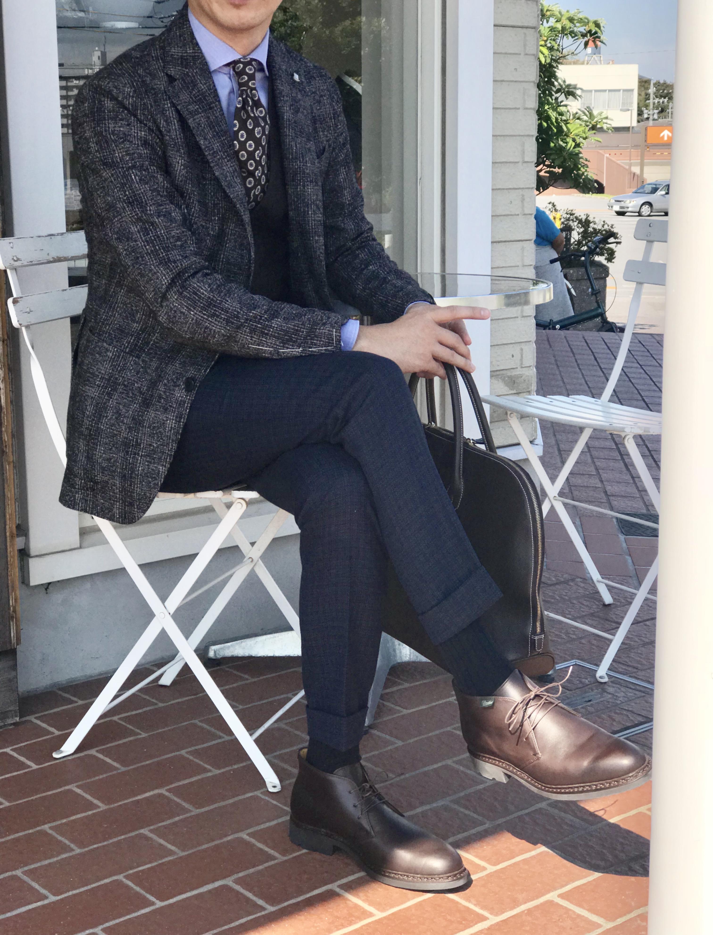 ビジネスでも着回せる秋のジャケットスタイル! 【TAGLIATORE】「MONTECARLO」アルパカ・コットン グレンチェック柄ジャケット!!