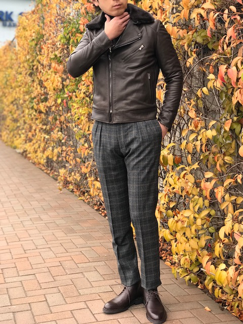 寒空の下で暖まる人肌レザー! 【EMMETI】「GUGIELMO」 中綿入りボア取り外し付きダブルライダースジャケット!!