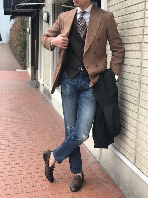 春ジャケットは早めの投入を!【De Petrillo】「NAPOLI-VESUVIO」 ダブルブレスト リネンジャケット!!