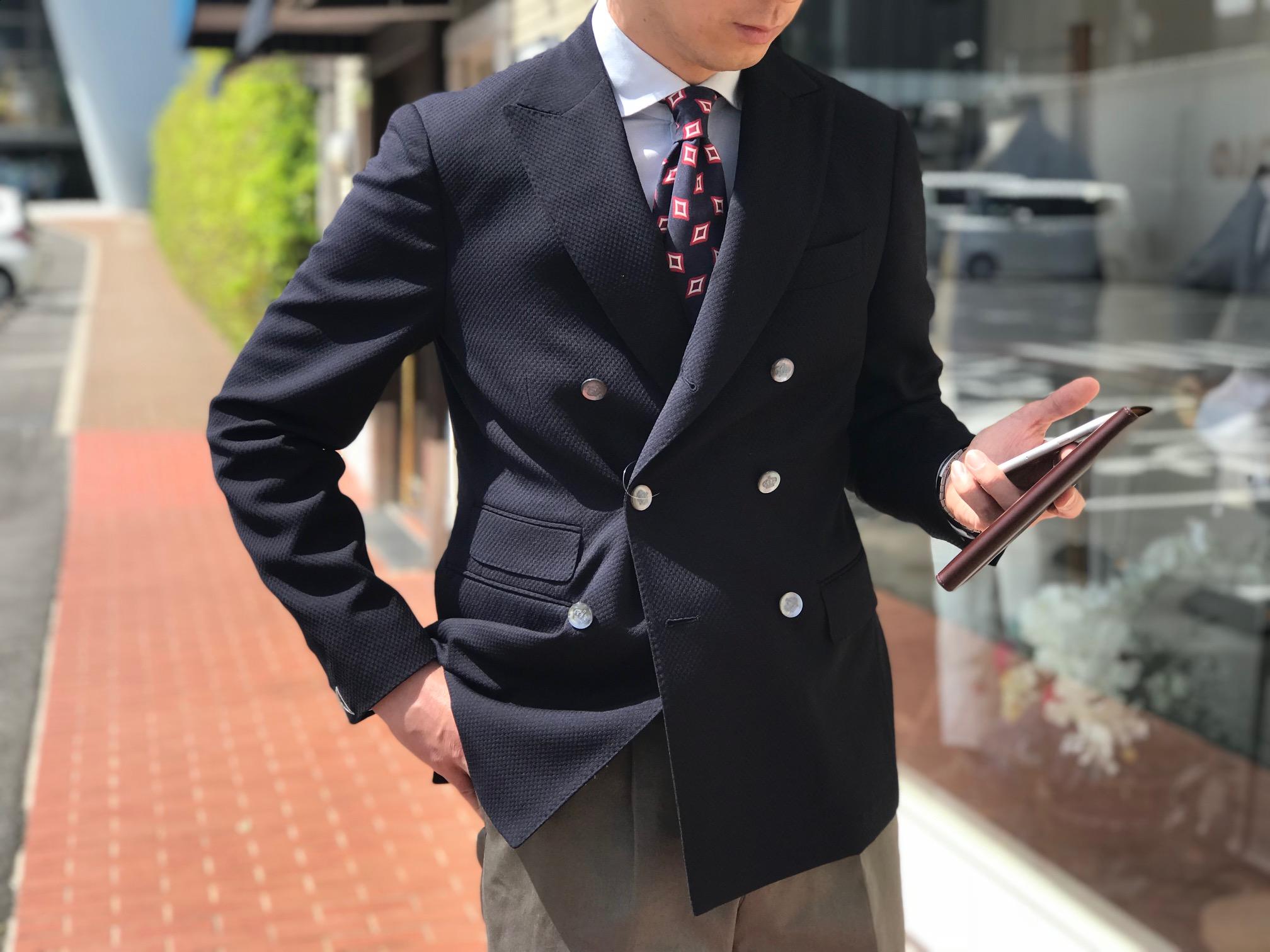 ONスタイルでマジメに着崩すジャケット!【THE GIGI】「MIRO」ハニカム風ネイビーダブルブレストジャケット!!