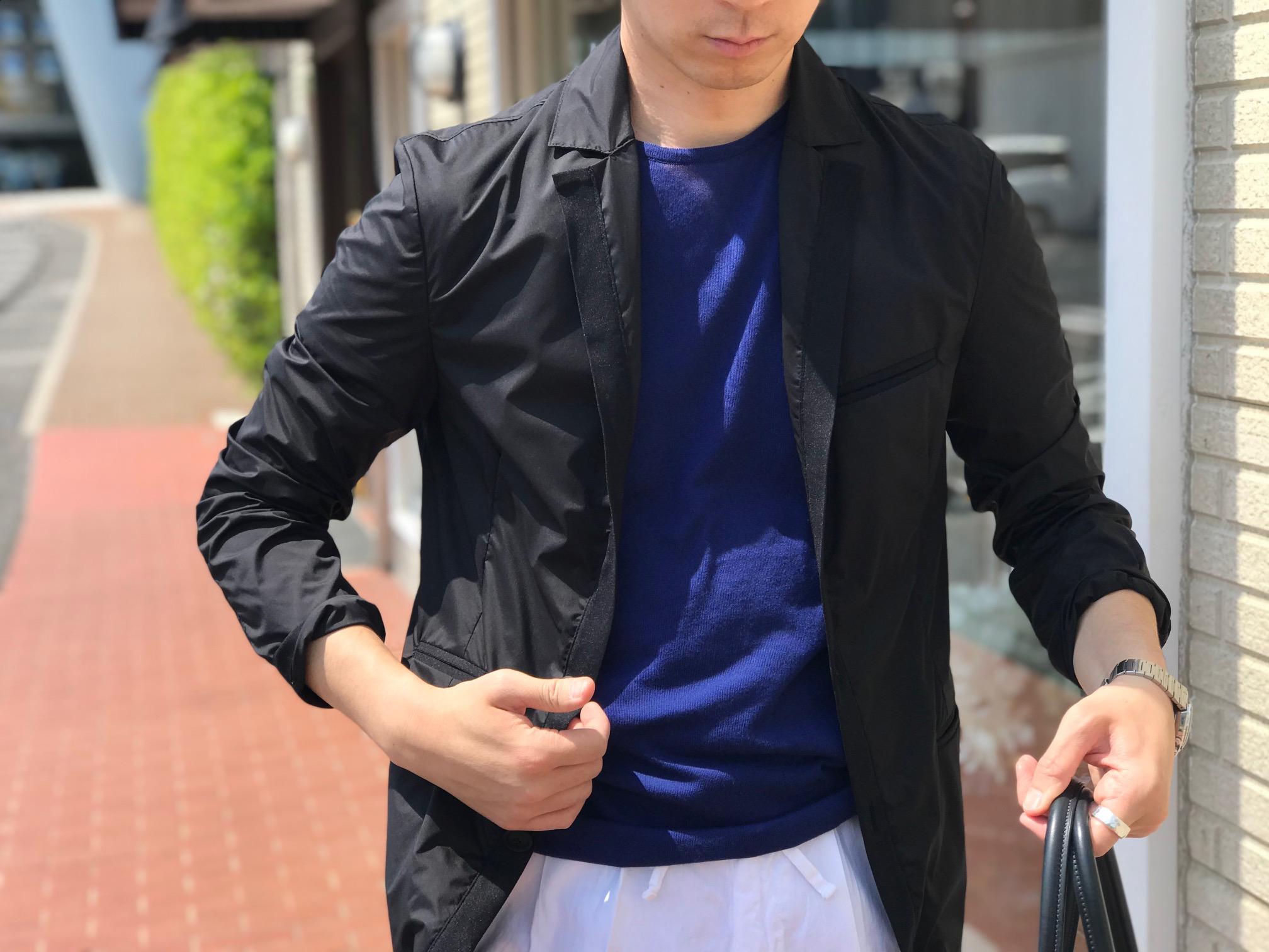 春の羽織りは軽めのナイロンブルゾン⑤! 【AQUARAMA】「82719」タキシード風ストレッチナイロンブルゾン!!