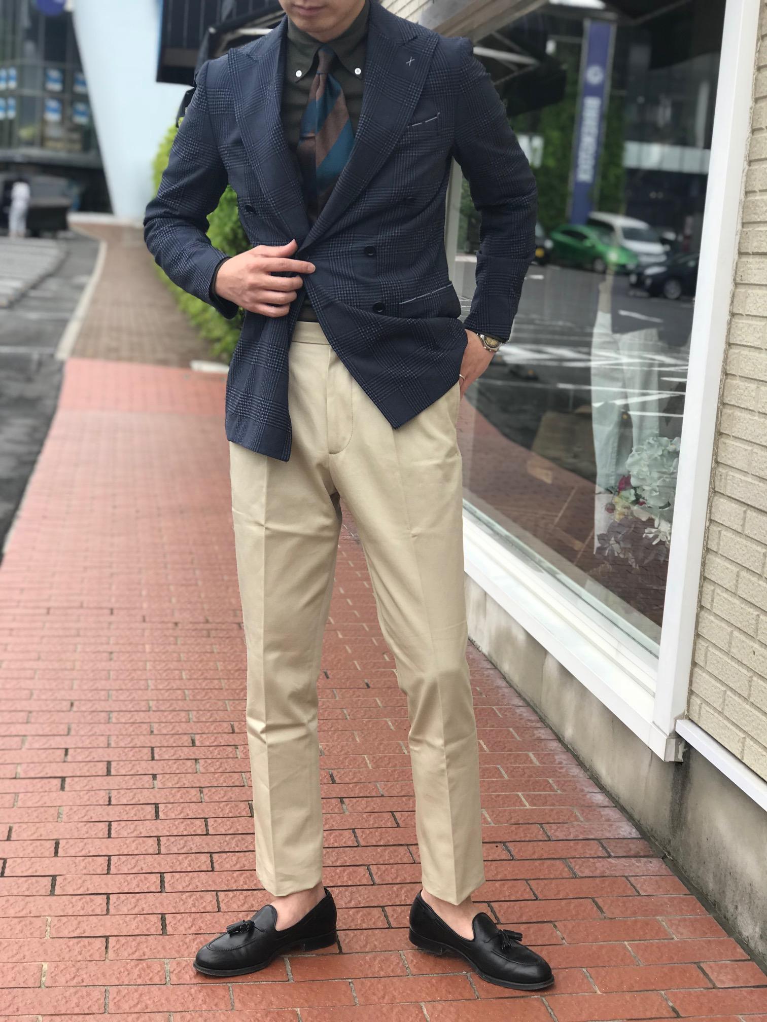 カーディガンのように羽織るジャケット!【De Petrillo】「NUVOLA」ウール・シルク グレンチェック柄ダブルジャケット!!