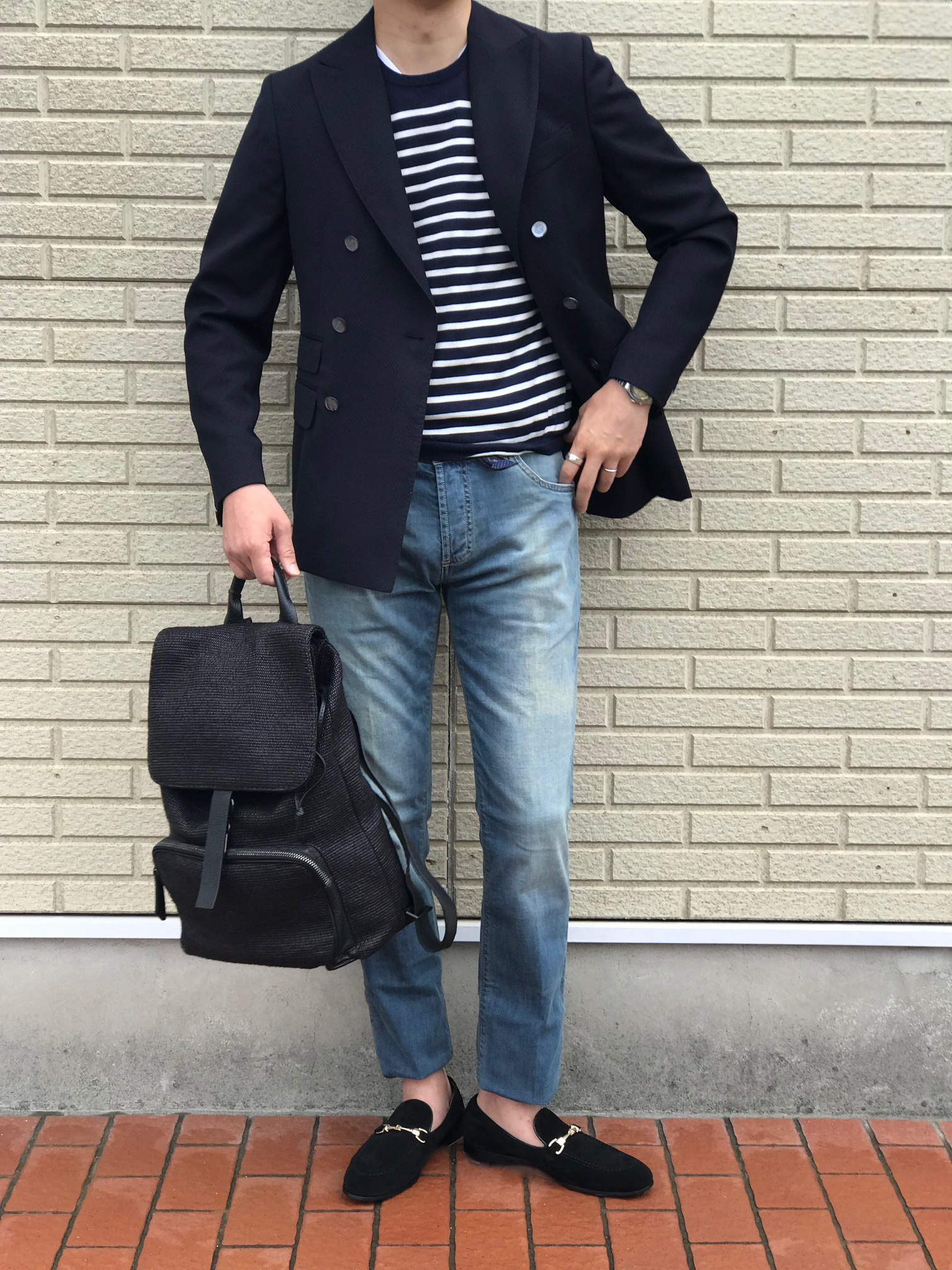 カーディガンのように羽織るダブルブレスト! 【THE GIGI】「MIRO」ハニカム風ネイビーダブルブレストジャケット!!
