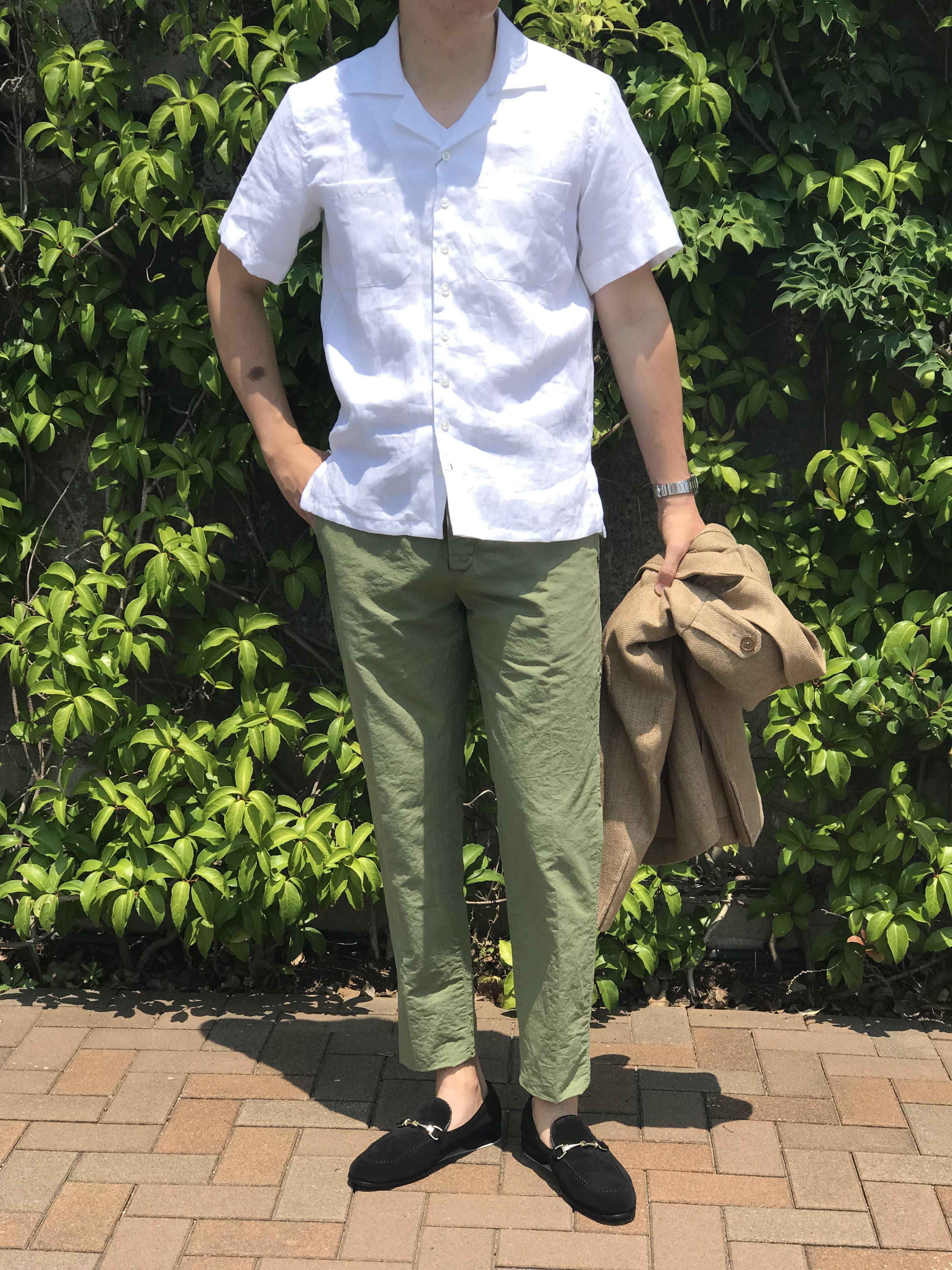 シルエットにゆとりを持って、快適に過ごす開襟シャツ! 【Mario Muscariello】リネン無地オープンカラーシャツ!!