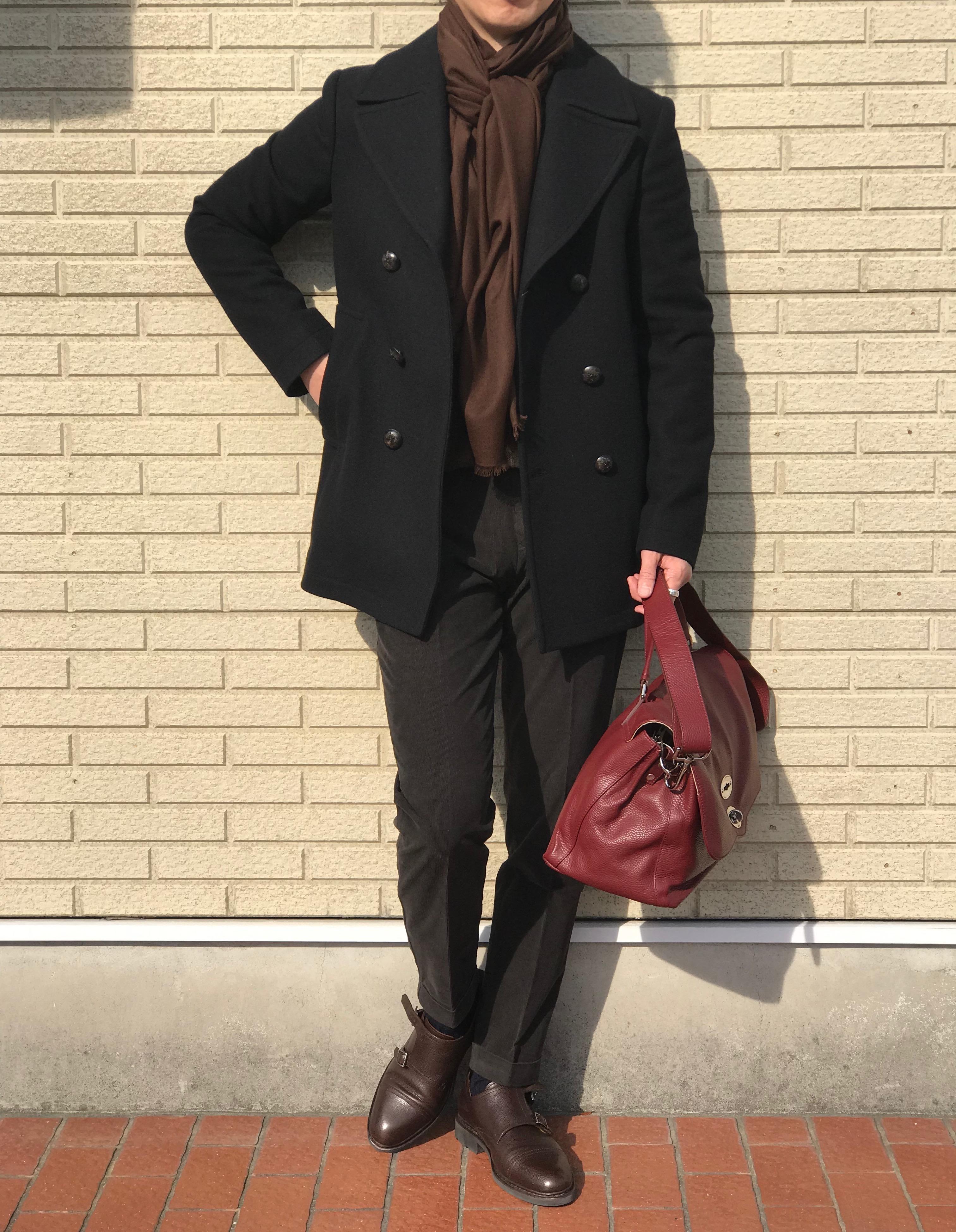 ブラウンとブラックで作るビターな日常着! 【THE GIGI】「YUMA」フランネル地Pコート!!